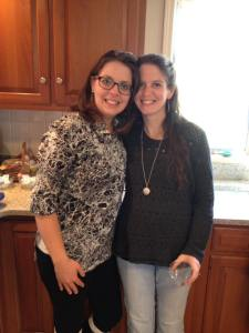 My sister, Cassie, and I at a baby shower. This sweater is kind to me. Can you see the baby bump? 29 weeks and counting!